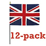 Cheap 12-pack United Kingdom Flag 4″ x 6″ 100% fine grade polyester. Made in USA! (United Kingdom)