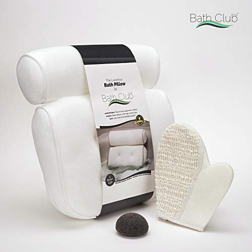 Bath Club || Spa Bath Pillow for Tub Neck Support - 2 Extra Bonus Gifts: Exfoliating Bath Glove + Bamboo Konjak Sponge | Non-Slip Tub Pillow Cushion - 5 Suction Cups | Anti-Bacterial & Anti-Mold ()