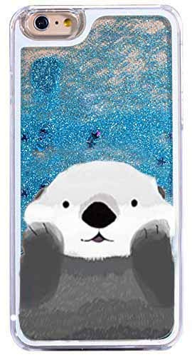 DECO FAIRY Compatible with iPhone 8 / 7, Cartoon Anime Animated Adorable Cute Otter Zootopia Series Blue Glitter PVC Hard Cover Case
