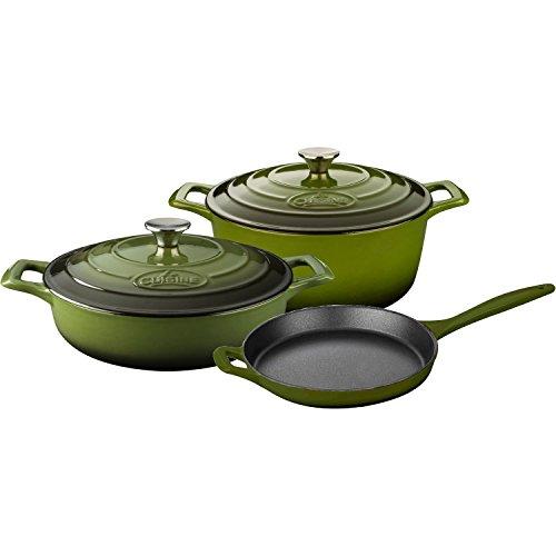 La-Cuisine-LC-2650-5-Piece-Enameled-Cast-Iron-Round-Casserole-Cookware-Set-Olive-Green