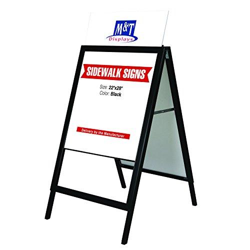 Free Standing Sidewalk Business Restaurant Advertising Display Slide-in A Frame, 22x28 Poster Size, Black by DisplaysMarket (Image #1)