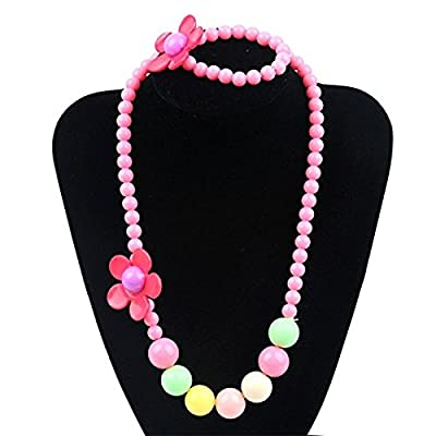 5 Colors Kids Necklace Bracelet Set Flower Beads for Girls Children Kids Jewelry for Birthday with Gift Box