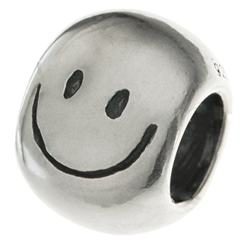 925 Sterling Silver Smiley Face Round Bead For European Charm Bracelets