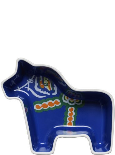 Small Royal Blue Sagaform 5016352 Stoneware Dala Horse Serving Bowl