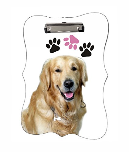 Golden Retriever Dog and Pawprints Benelux Shaped 2-Sided Hardboard Clipboard with Glossy Finish and Silver (Paw Shaped Clip)
