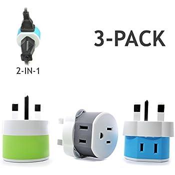 Amazon.com: UK, Ireland, Dubai Power Plug Adapter by OREI with 2 USA Inputs - Travel 3 Pack