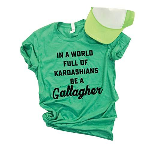 Anbech in A World Full of Kardashians Be A Gallagher Irish St. Patrick's Day Shamrock Women Tee Shirt Size XL (Green)