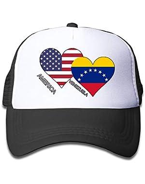 America Venezuela Flag Heart On Kids Trucker Hat, Youth Toddler Mesh Hats Baseball Cap