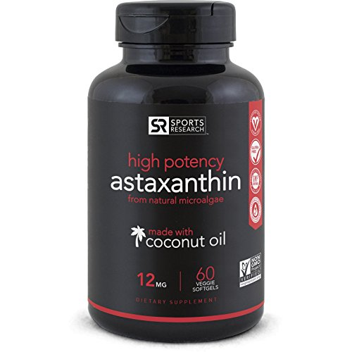 Astaxanthin (12mg) with Organic Coconut Oil | Powerful Antioxidant Naturally Supporting Joint, Skin, & Eye Health - 60 Veggie Softgels
