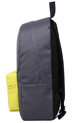 SIMPLAY Mochila Escolar Clásico | 44x30x12,5cm | Colores Variados | Turquesa D197D, gris oscuro/verde amarillo