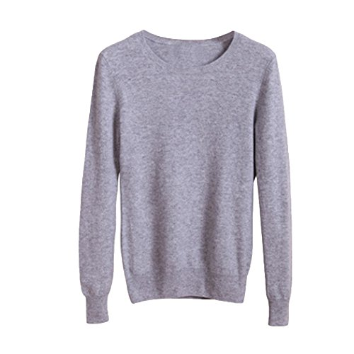 Cutecc Women's Basic Long Sleeves Crew Neck Solid Sweater Knitted Tunic Tops Pullover (Light Grey, XL/US 8-10)