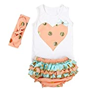 Messy Code Lovely Design Posh Gold Polka Dots Baby Girls Outfits,X-Small / 0-6Months,Peach and mint