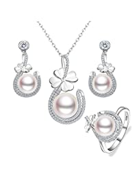 EVER FAITH 925 Sterling Silver CZ AAA Freshwater Cultured Pearl 4-Leaf Clover Necklace Earrings Ring Set