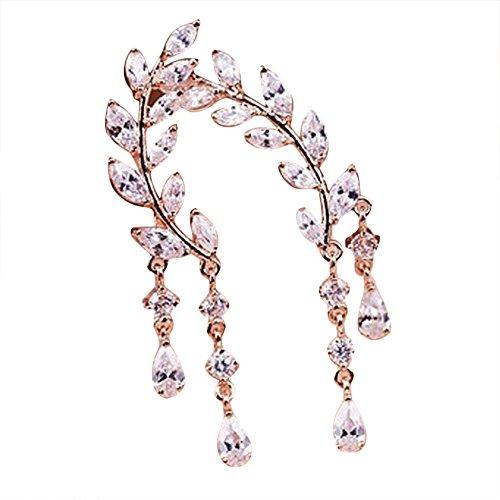 (Fashion Earrings, Paymenow 2018 New Women Girls Crystal Rhinestone Stud Earrings Tassel Long Drop Earrings (Rose Gold))