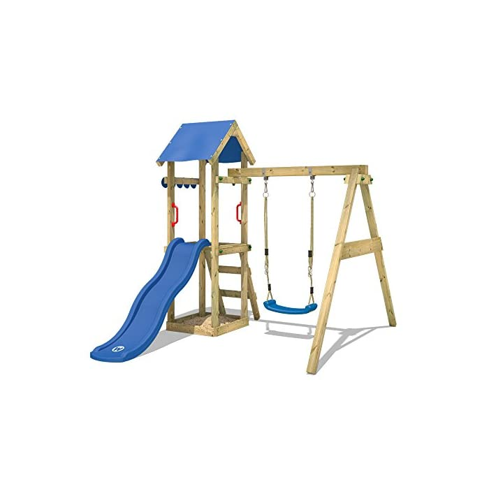 41lpRuQXD8L Juegos infantiles de madera para el jardín con tobogán y columpio - Escalera inclinada Madera maciza impregnada a presión - Poste 7x4,5cm - Poste de columpio 9x9cm - Tola Calidad y seguridad verificadas - Instrucciones de montaje detalladas - Made in Germany