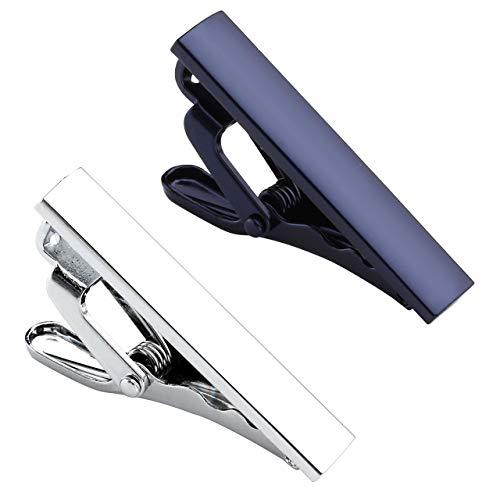Zysta 2PCS White Navy Blue Exquisite Boys Skinny Ties Bar Men Mini Tie Clips Set Stainless Steel Formal Dress Shirts Necktie Pinch Tack 1 1/3 inch + Gift Box -