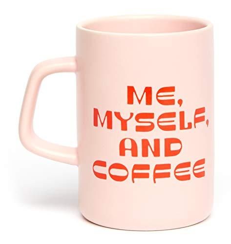 Ban.do Oversize Big Ceramic Coffee/Tea Mug, Holds 13 Ounces, Me Myself and Coffee