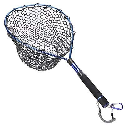 Mounchain Fly Fishing Net Aluminum Alloy Landing Net with Telescopic Pole Handle Soft Rubber Mesh Catch and Release Net for Trout Bass Fishing (Blue)