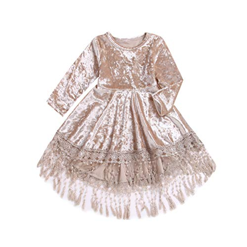 Little Baby Girls Pleated Pageant Dress Princess Vintage Velvet Tassels High Low Midi Party Event Dresses Kids Skirt 0-4Y Beige
