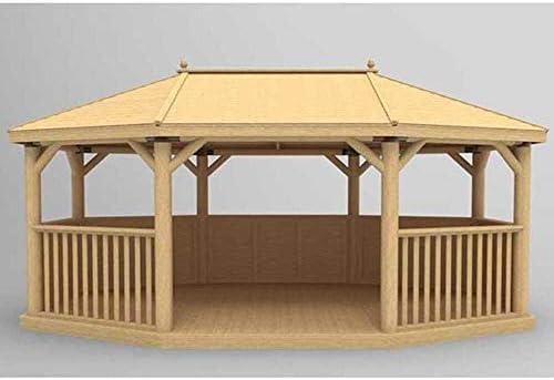 Forest - Cenador ovalado de madera tradicional con techo, 6 m, para hasta 27 adultos: Amazon.es: Jardín