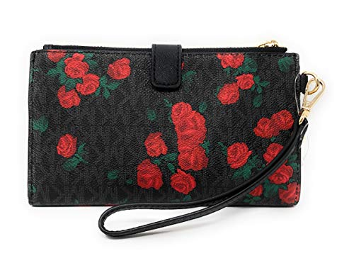 Michael Kors Jet Set Travel Double Zip Saffiano Leather Wristlet Wallet (PVC Black/Red Rose) by Michael Kors (Image #2)