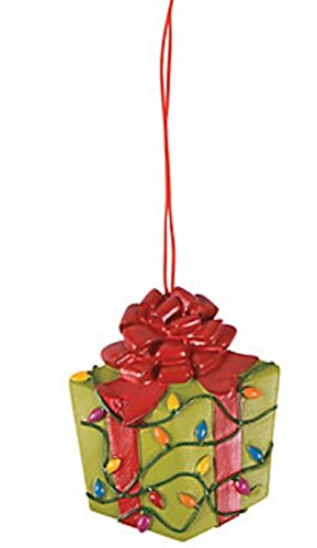 """12 Ornaments per lots , 3"""" x 3 1/2"""" Resin Wrapped In Christmas Lights Christmas Present Ornaments"""