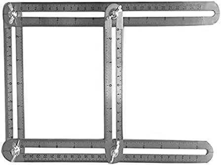Edhua - Regla de medición de ángulo, Regla de Escalera de Plantilla plegada en Cuatro Lados de Acero Inoxidable, Herramientas de medición multiángulo: Amazon.es: Hogar