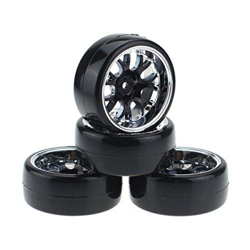 Hobbymarking 4Pcs RC 1/10 Drift Car 12mm Tires Hard Tyre and Wheel for Traxxas HSP Tamiya HPI Kyosho On-Road Drifting Car