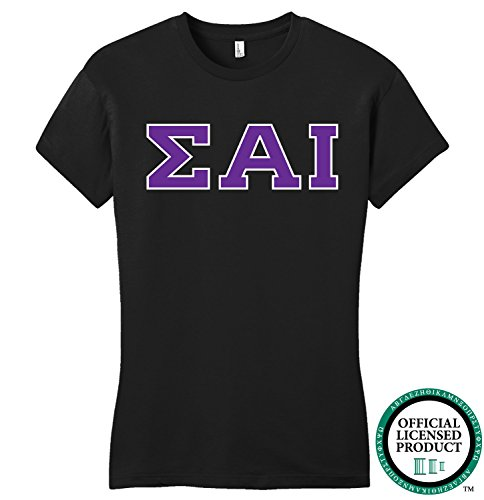 SIGMA ALPHA IOTA | Purple Letters - Licensed Fitted Ladies' T-shirt-Ladies,