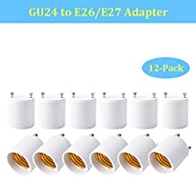BrothersLED GU24 to E26 E27 Adapter Light Bulb Socket Adaptor Lamp Base Converter- Converts your Pin Base Fixture (GU24) to Standard Screw-in Bulb/Lamp Socket, Safe PBT Flame Retardant Material (12-Pack)