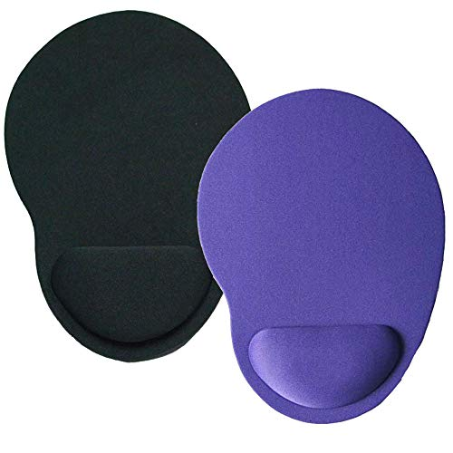 HappyDaily Pack of 2 Non-Slip Soft and Light Mouse Pad with Wrist Support Desktop Mouse Pad Gaming Mouse Pad (Black+Purple) ()