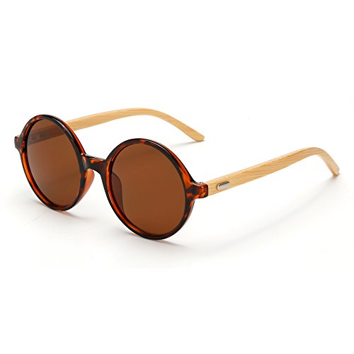 VeBrellen Men's Sunglasses Bamboo Wood Arms Vintage Round Mirrored Sunglasses For Men & Women (Leopard Frame With Brown Lens, - Arm Sunglasses Bamboo