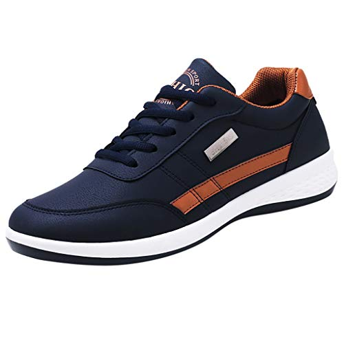 ANJUNIE Slip-On Classic Running Sneaker Men Walking Casual Shoes Breathable Lace Up Shoes(1-Blue,42) ()