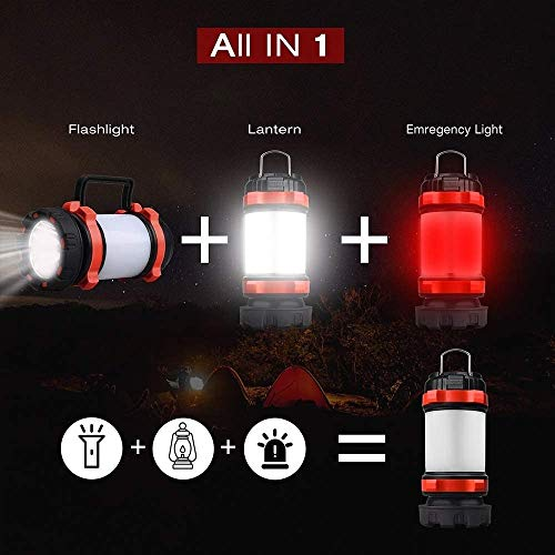 Fun-mall Camping Lantern, Rechargeable LED Lantern IPX4 Waterproof 1000lm Lantern Flashlights, 4 in 1 Multifunctional Camping Light Spotlight As Emergency Power Bank,