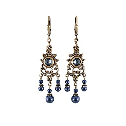 Midnight Blue Chandelier Earrings made with Swarovski Crystal and Antiqued Brass