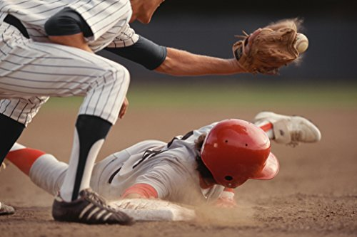 Base Runner Sliding Into Base Fielder Catching Ball Photo Art Print Poster (Diamond Fielders Glove)