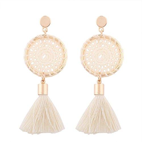 Earrings for Girls Fashion, Paymenow Women Bohemian Tassel Earrings Vintage Ethnic Handmade Hollow Out Jewelry Earrings (Beige) Earing Bangle
