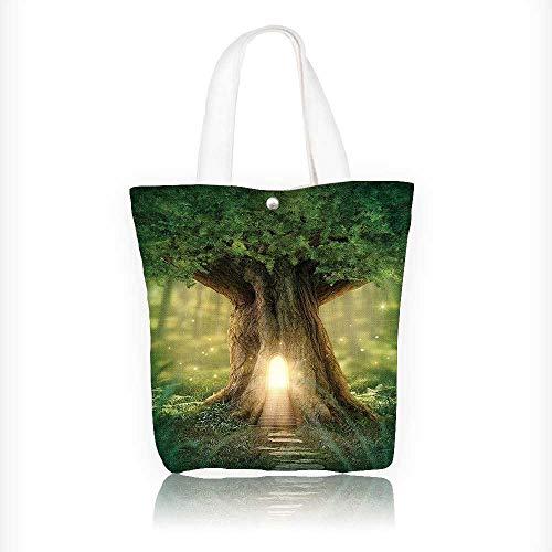 (Women's Canvas Tote Bag, Tree of Life Enchanted Forest Mystical Lights Digital Printed Wall Green Yellow Brown Ladies Top-handle Handbags, work school Shoulder Bag W11xH11xD3)