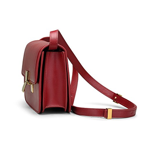 Metal Messenger Portable Use Bag Leather Everyday Lock Shoulder Retro Red Bag Asdflina Wine For Suitable Simple Square qfzttcA