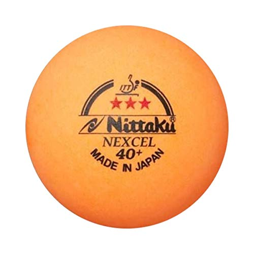 NITTAKU 3 Balls NEXCEL (Made in Japan), 40+ Orange 3 Stars Table Tennis Ball + Free Racket Protection Edge Tape