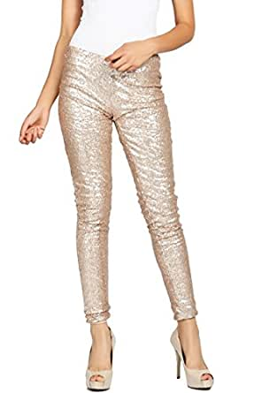 ColorMC Women's Sequin Covered Knit Skinny Pants Small Gold