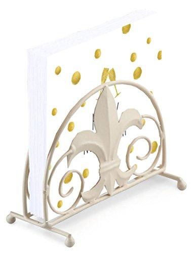 HAPPY NEW YEAR WHITE GOLD POLKA DOT CHAMPAGNE FLUTE 20 X 3 PLY PAPER NAPKINS & FLEUR DE LYS NAPKIN HOLDER SET