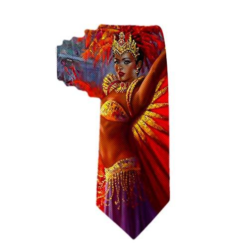 (Handmade Ties for Men:Skinny Woven Slim Tie Mens Ties-Thik Necktie African Women Black Women Dancing Red Art Neckties for Every Outfit)