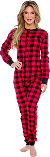 Silver Lilly Oh Deer Plaid One Piece Pajamas - Women's Union Suit Pajamas with Drop Seat (Red/Black Plaid, X-Large)