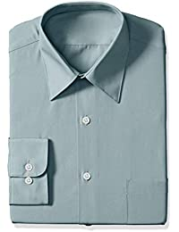 Men's Poplin Regular Fit Solid Point Collar Dress Shirt