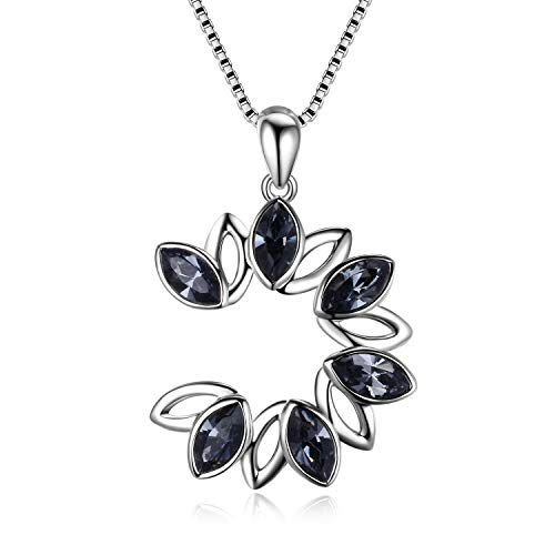 AOBOCO 925 Sterling Silver Round Necklace Two Tone Leaf Swarovski Crystal Flower Necklace Open Circle Pendant,Elegant Jewelry Gift for Women Girls