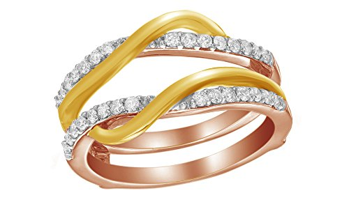 Jewel Zone US White Natural Diamond Overlay Solitaire Enhancer Ring in 14k Two-Tone Rose Gold 3/8 Ct