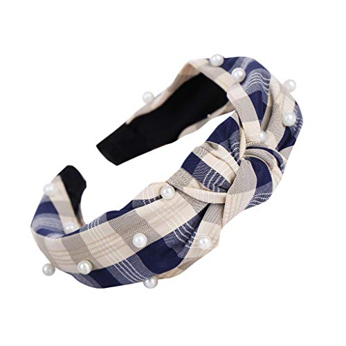 〓COOlCCI〓Vintage Twisted Faux Pearl Tie Beading Women Wide Hair Hoop Velvet Headband Headwear Hairband Accessories Navy