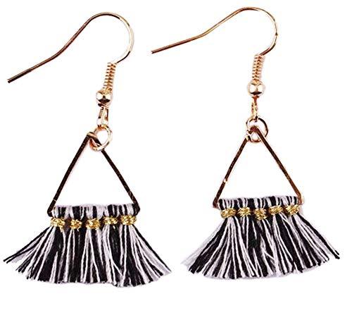 stylesilove Womens Bohemian Mini Fringe Tassels Gold Statement Hanging Earrings (Zebra)