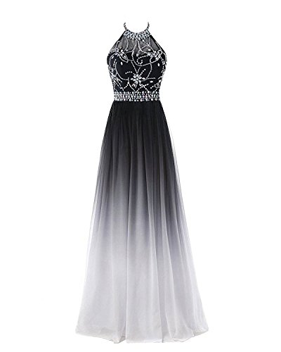 Chiffon Beaded Long Halter Dress - 1